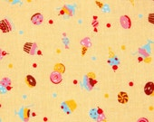 LECIEN Minny Muu Sweets Yellow Japanese import cotton fabric 1/2 yard