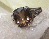 Ring, Smoky Topaz, Sterling 925, Fancy Scroll Carvings