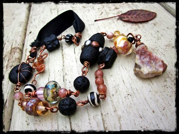 SALE Sunstone assemblage necklace, Handmade lampwork glass Raw black tourmaline Copper wire wrapped -  Dazzle