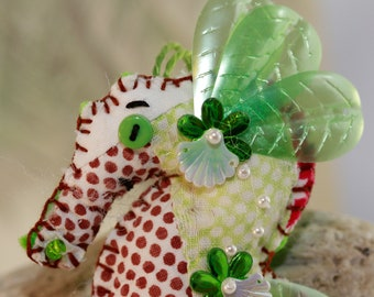 Sweetie of The Sea - Mint, Chocolate & Pearls - Sea Horse Quilty Critter Ornament