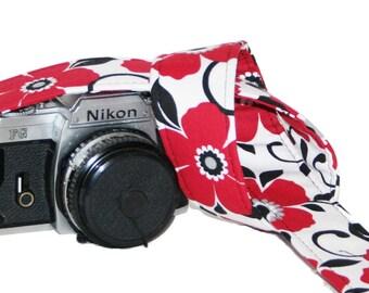 SLR, DSLR Camera Strap - Red Black White Blooms by HowardAvenue