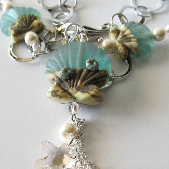 RESERVED listing for Paula:  Seashell lampwork beaded necklace, seafoam green, sterling silver, chain neckace, beach jewelry, beaded jewelry