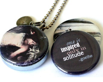 Custom Stamped Locket Necklace - Solitude, Prayer, Goethe Quote - Magnetic Necklace by Polarity, Melissa Nucera Collection