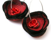 Hoop Earrings with Red Leather Flowers and Metal Roses, Women, EcoFriendly, Unique, OOAK