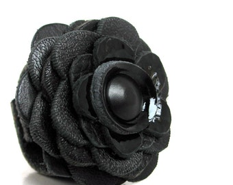 Black, Blacker & Blackest EcoFriendly Leather Flower Ring, Size 7, OOAK