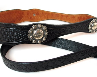 Black Leather Dog Leash with Western Tooled Silver Concho Handle, EcoFriendly, Lead, Pet Supplies, OOAK