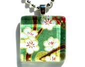 rebirth - glass tile and Japanese chiyogami pendant necklace with gift tin