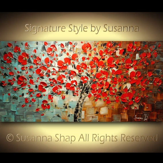 ORIGINAL Large Abstract Contemporary Red Cherry Blossom Tree Oil Painting Thick Texture Gallery Fine Art by Susanna Ready to Hang 48x24