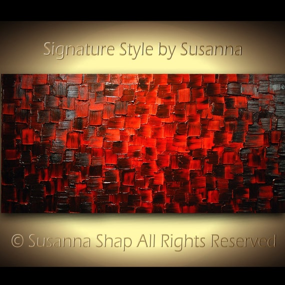 Original Large Abstract Fine Art on Canvas Textured Red Modern Palette Knife Painting Ready to Hang 48x24 by Susanna