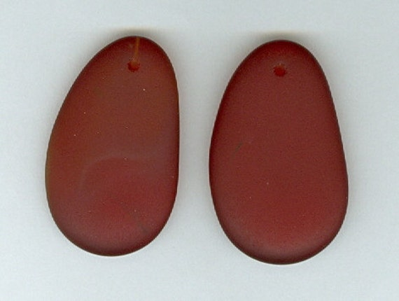Set of 2 Dark Red Small Sea Glass Free Form Pendant Beads 20x33mm