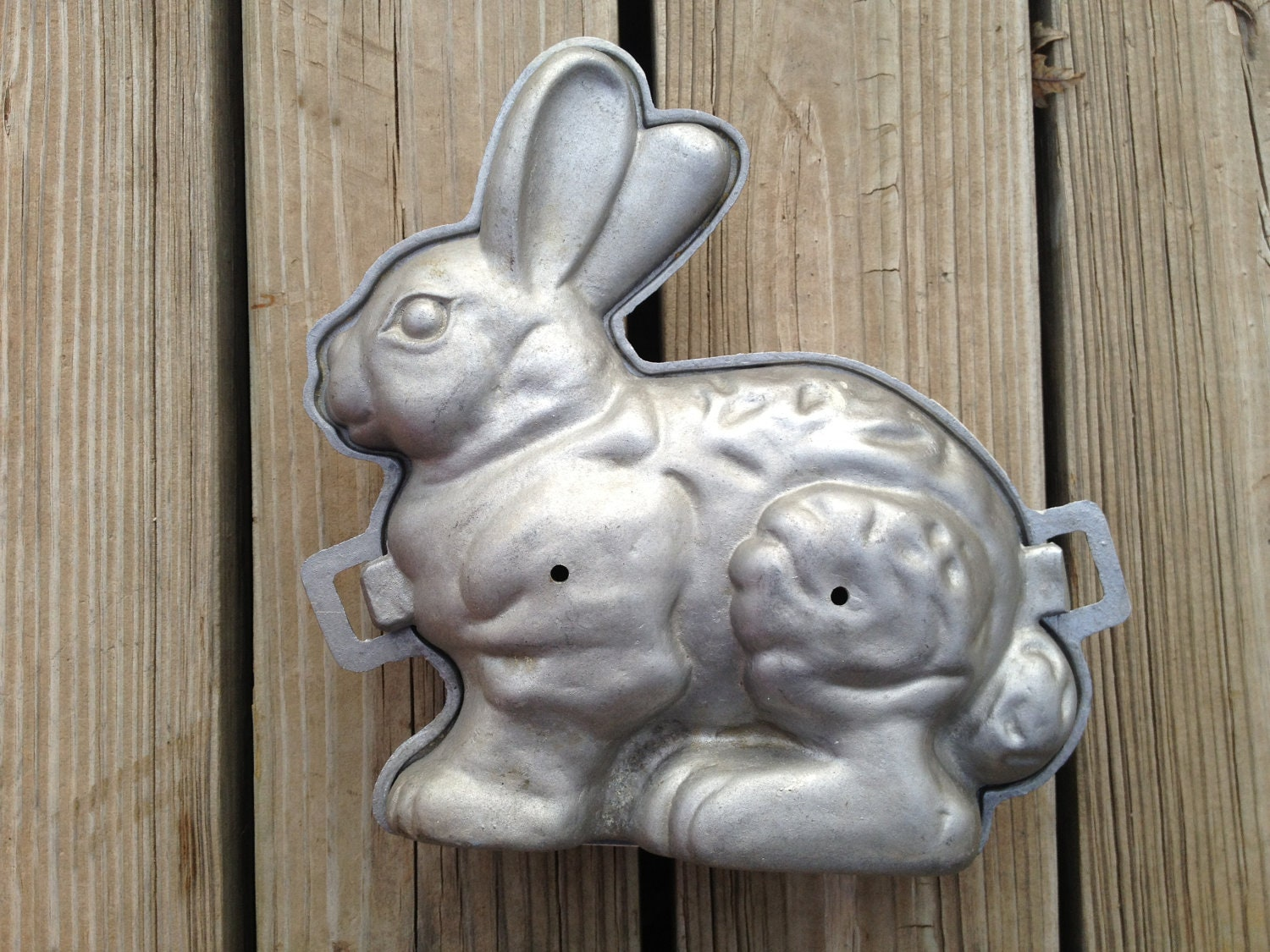 Vintage Cake Cast Metal Bunny Mold Free Shipping