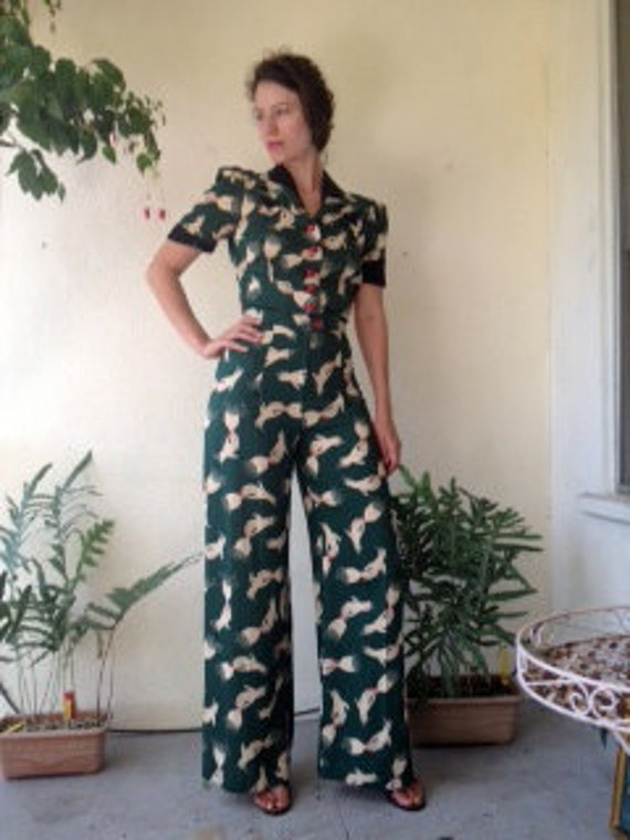 1970's does 1940's Novelty Hand Champaign Bubble Print Pantsuit S-M