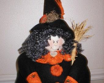 Griselda the Happy Witch Handmade Halloween Doll Decoration