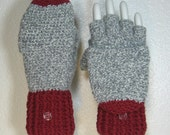 READY TO SHIP   Merino Sock Convertible Fingerless Gloves Mittens with Thumb Flaps, Sz 7.5