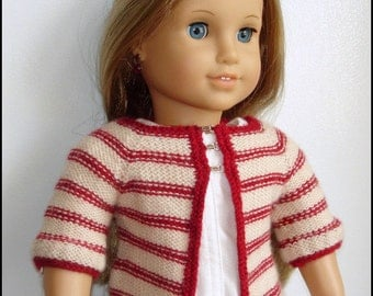"Matilda Cardigan - Sweater Knitting Pattern For 18"" American Girl Dolls PDF - Doll Clothes Pattern - Instant Download"