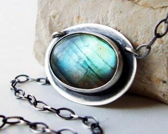 Labradorite Necklace, Sterling Silver Labradorite Pendant Necklace - Mystique