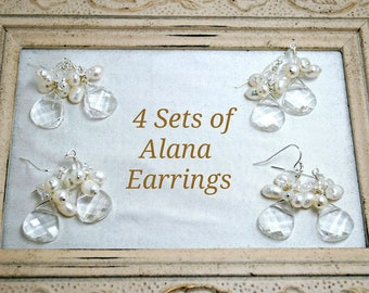 4 sets of Bridesmaids Earrings, Four Cluster Crystal Teardrop Earrings, Freshwater Pearls, Beach Wedding Theme, Sterling Silver