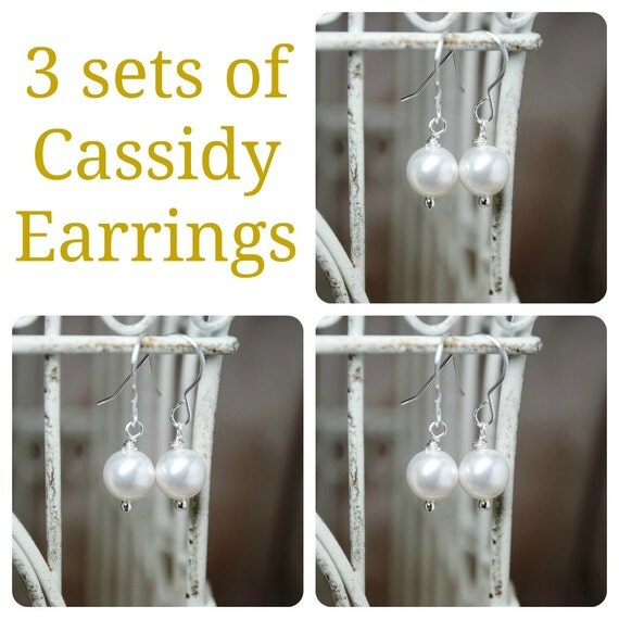 3 Sets of Cassidy Pearl Bridal Earrings, Three Sets of Bridesmaids Pearl Earrings, Wedding Earrings, Bridal Earrings, Bridal Gifts