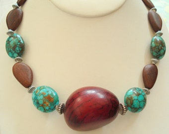 Tagua Necklace with Mosaic Turquoise and Wooden Beads, Necklace