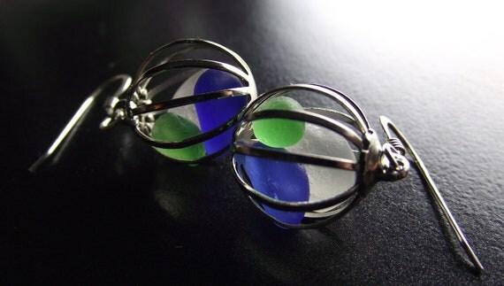 Sea Glass Jewelry - Nautical Ball Earrings - PREPPY