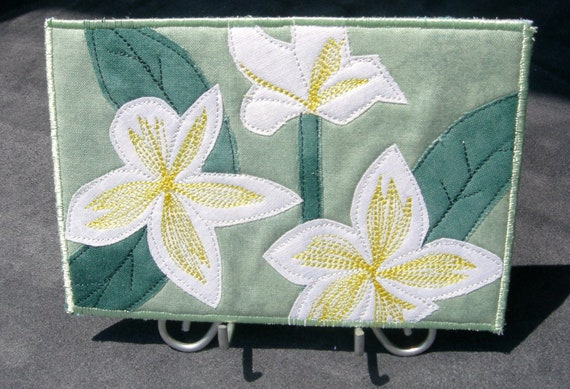 Yellow and White Flowers Quilted Fabric Postcard - Plumeria