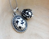 Black and White Necklace Floral Fabric Medallion Necklace