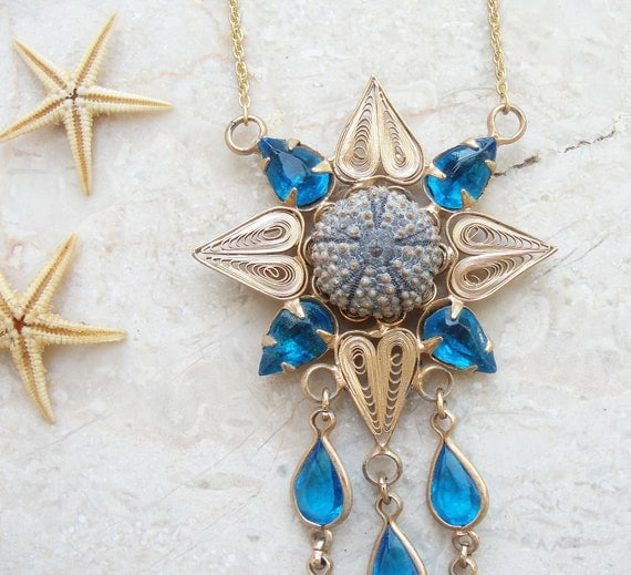 Sea Urchin Necklace Blue Gold Plated Vintage Telkari One of a kind