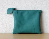 Leather Clutch in Teal Green Thick Cow Leather