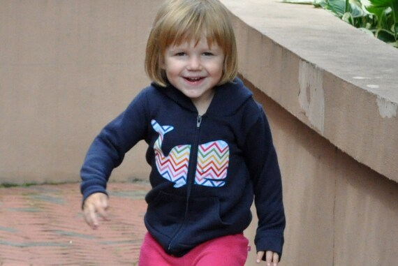 Chevron Whale Kids Hoody Infant Kids American Apparel
