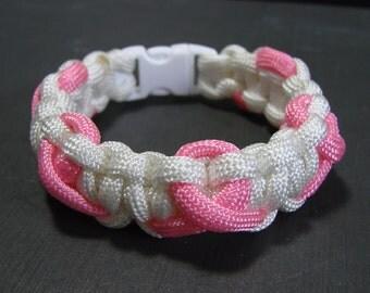 Pink Ribbon on White Breast Cancer Awareness paracord survival bracelet