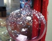 Ex Small Pink Snow Capped Hand Blown Glass Ornament by Jenn Goodale