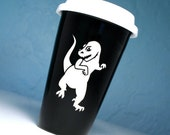 T-Rex Travel Coffee Mug - insulated BLACK ceramic to go cup