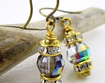 Vitrail Medium Earrings with Brass and Rhinestone Rondelles