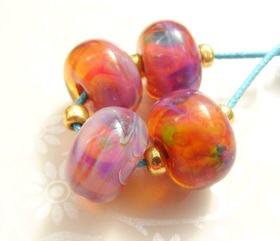 Hipster Sunset Donuts Lampwork Glass Beads