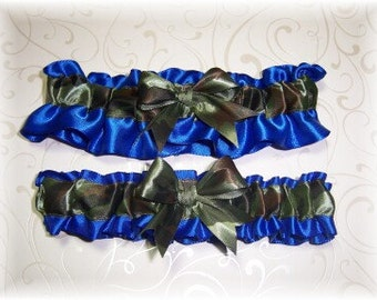 Camouflage Wedding Garter Set Royal Blue BB