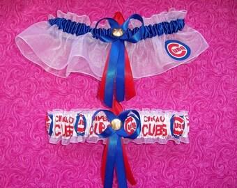 Chicago Cubs Wedding Garter Set    Handmade  Keepsake and Toss