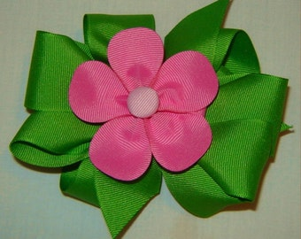 3 in One Hairbow in Apple and Hot Pink
