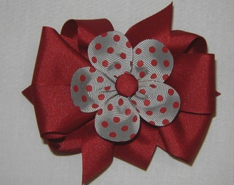 3 in One Crimson Hairbow with Gray and Crimson Dotted Petal