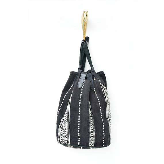 vintage black and white woven cotton and leather southwestern backpack