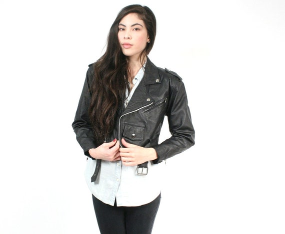 vintage black leather moto jacket