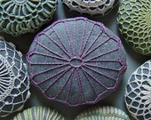 Wedding, Table Decorations, Crochet Lace Stone, Home Decor, Original, Handmade, Nature, Soft Purple Thread, Gray Stone, Art, Art Object