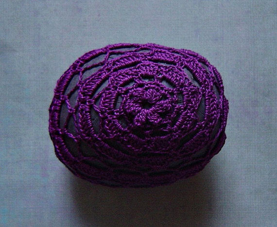 Art, Mixed Media, Crochet Lace Stone, Original, Handmade, Table Decorations, Home Decor, Art Object, Folk Art, Purple Thread