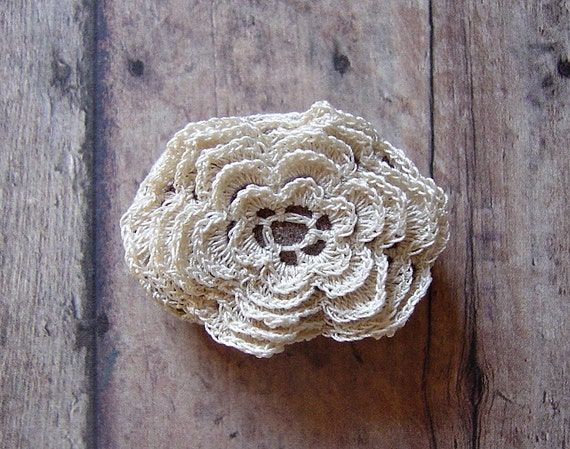 RESERVED Crocheted Lace Stone, Multi-Layered Floral Motif with Beige Thread, Handmade by Monicaj
