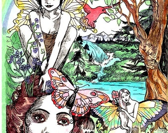 Dame Darcy, Summer Solstice, Fae, Fairy, Hand painted, glitter, watercolor, illustration,print