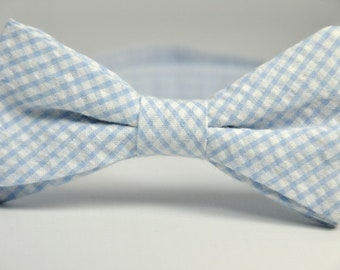 Boy's Bow Tie - Light Blue Gingham Seersucker Bowtie
