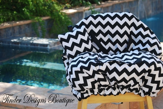 Shopping Cart Cover -  Gender Neutral Cart Cover - Black and White Chevron