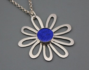 Sterling Silver Daisy Pendant with Blue dichroic Glass cabochon