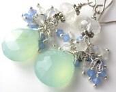 Chalcedony, moonstone, and swarovski crystal earrings
