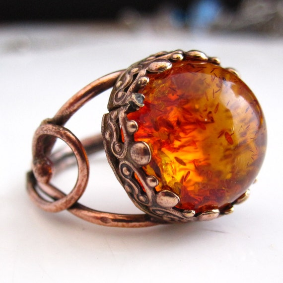 Amber Planet Ring - Amber and copper