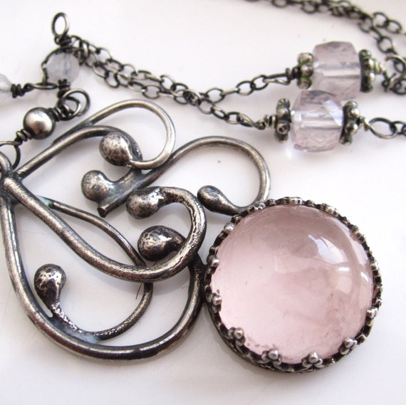 Puff of Smoke -- Rose Quartz and Sterling Necklace